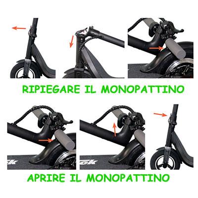 come si piega il monopattino elettrico i-bike mono truck